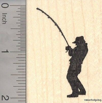Fishing Fisherman Silhouette Rubber Stamp, Reeling in a fish H18305 WM