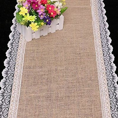 KRAFTZ® Burlap Hessian Natural Jute Table Runner with Lace for Party Decoration](Burlap Table Runner With Lace)