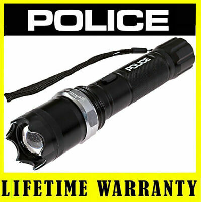 Police Stun Gun Metal A2 550 Bv Heavy Duty Rechargeable Zoom Led Flashlight