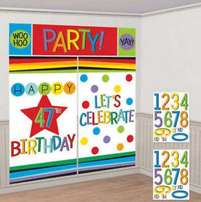ADD ANY AGE HAPPY BIRTHDAY scene setter ~ Adult Birthday Party Decoration - Birthday Party Decorations Adults