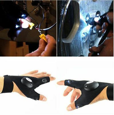 US! 1 Pair Finger Gloves with LED Light Flashlight Tools Outdoor Gear Rescue - Finger Flashlights