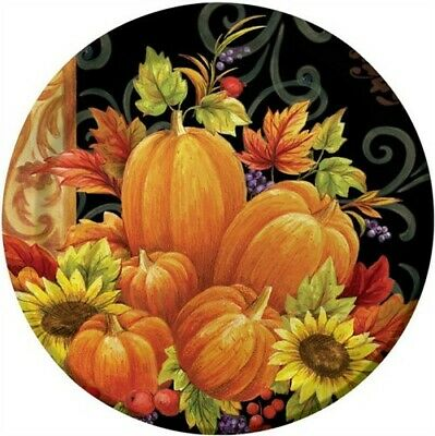 Pumpkin Tapestry 9 Inch Paper Plates Fall Autumn Thanksgiving Decorations
