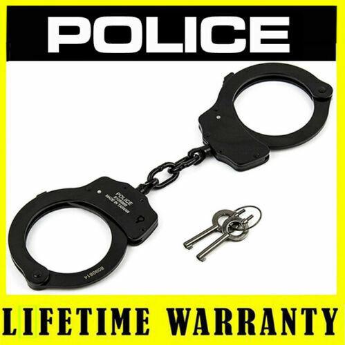 POLICE Handcuffs Professional Heavy Duty Metal Steel Double Lock - Black
