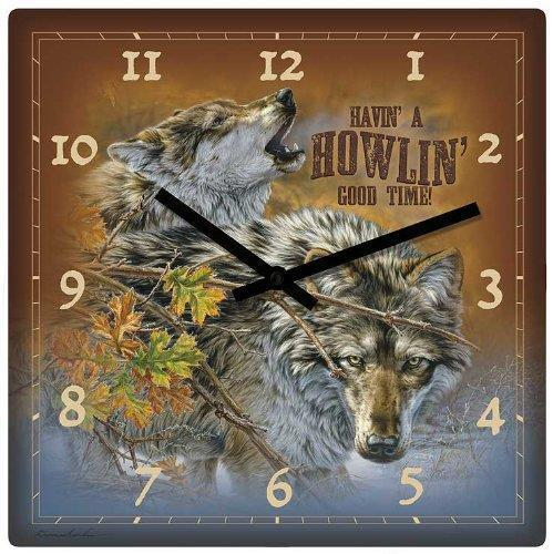"Wild Wings Wolves Howl Wolf Clock 10"" Square Lodge Decor"