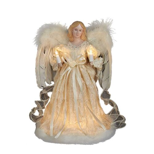 "KURT ADLER 10 LIGHT 12"" IVORY ANGEL w/FEATHER WINGS XMAS TREE TOPPER DECORATION"