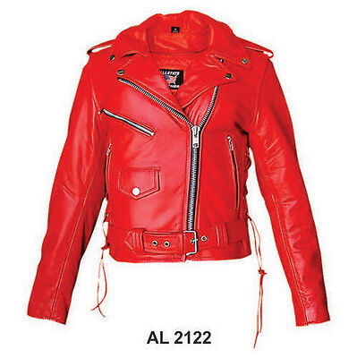 Ladies Red Leather Jacket Classic Motorcycle Style w Side Lace & Zip Out Liner Classic Side Lace Motorcycle Jacket