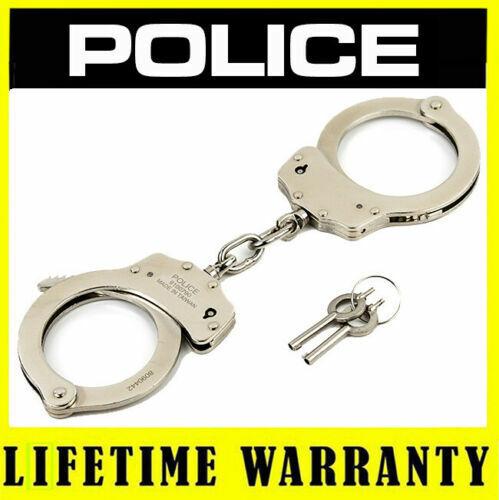 POLICE Handcuffs Professional Double Lock Heavy Duty Metal Steel - Silver