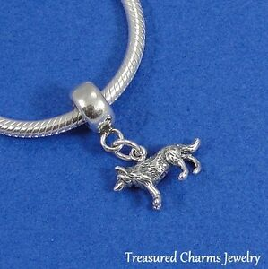 .925 Sterling Silver WOLF Dangle Bead CHARM fits EUROPEAN Bracelet