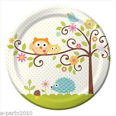 HAPPI TREE OWL LARGE PAPER PLATES (8) ~ Baby Shower Party Supplies Dinner Lunch](Owl Party Plates)