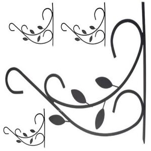 4x GARDEN HANGING BASKET METAL WALL BRACKET - LEAVES - UP TO 12