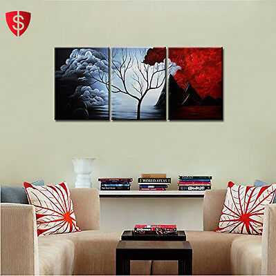 3 Piece Wall Art Oil Painting Modern Home Decor Abstract Landscape Framed Canvas