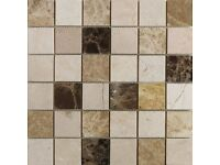 50 sheets 305 x 305. Quality polished marble large mosaic Emperador tiles. rrp £20 per sheet.