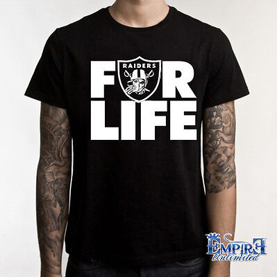 Raider Nation T Shirt  Oakland Raiders Silver   Black For Life Football Skull T