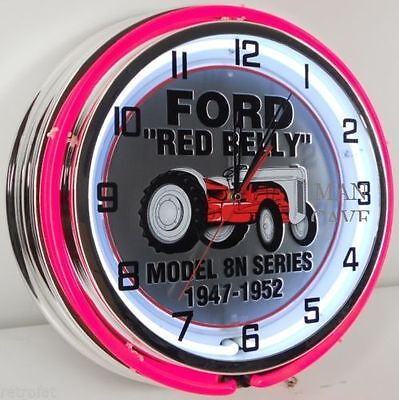 """18"""" FORD Red Belly Tractor 8N Series Embossed Sign Double Neon Clock"""