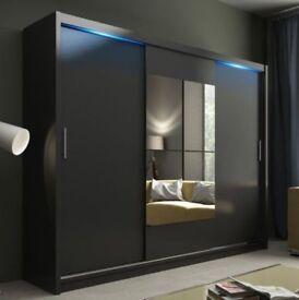 UPTO 35% OFF NOW- Brand New 2 or 3 Door Berlin Sliding Full Mirror Wardrobe with shelves & hanging