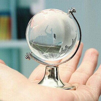 80mm Mini World Globe Crystal Glass Clear Paperweight Desk Office Home Decor