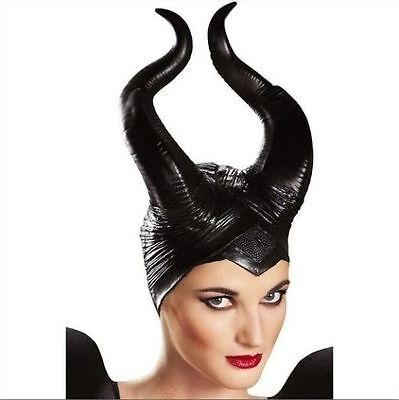 Disney Witches Costumes (Women Maleficent Costume Disney Witch Black Horns Cosplay Mask Halloween Hat)