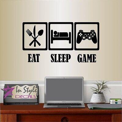 (Vinyl Decal Eat Sleep Game Video Games Gamer Teen Boys Bedroom Wall Sticker 878)