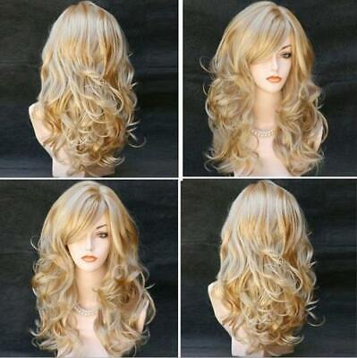 Womens Gold Blonde Long Curly Wavy Wigs Full Hair Ombre Cosplay Party US - Long Curly Wigs