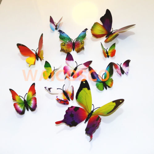 Home Decoration - 12pcs MAG 3D Butterfly Decal Wall Stickers Home DIY Art Decor Children Room Uk
