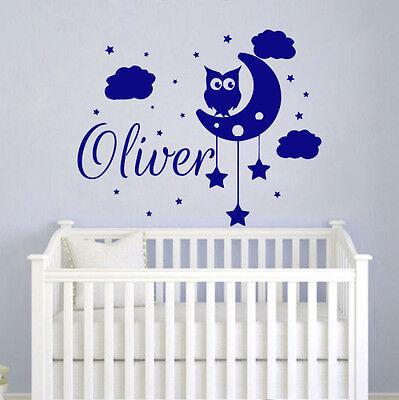 Owl Wall Decals Personalized Name Decal Vinyl Moon Art Boy Nursery Bedroom MN169
