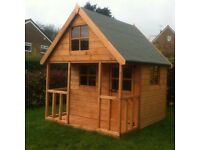 CHILDRENS TWO STOREY WOODEN PLAYHOUSE 6X6 FULLY T&G.