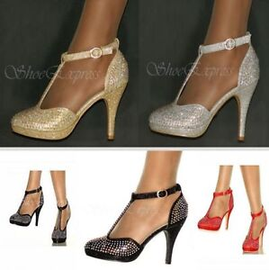 WOMENS-NEW-DIAMANTE-CRISTAL-MID-HEEL-SHOES-SIZE-3-8