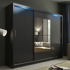 Modern Double Sliding Door Wardrobe Mirror CHICAGO Optional LED 120/150/180/203
