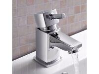 Square Mini Basin Single Lever Mixer Tap Slotted Click Clack Waste Bathroom