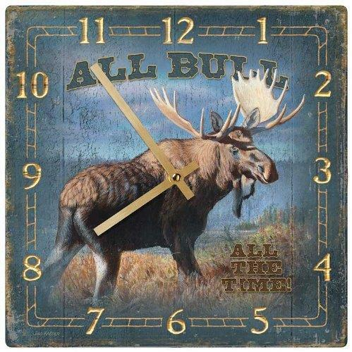 "Wild Wings Bull Moose Clock 10"" Square Lodge Decor Artist Jim Kasper"