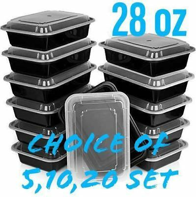 28oz Meal Prep Food Containers With Lids Reusable Microwavable Plastic Bpa Free