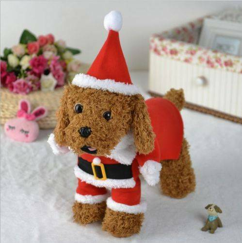 Christmas Pet Small Puppy Dog Cat Santa Claus Cape Coat Costume Outfit Cosplay 8