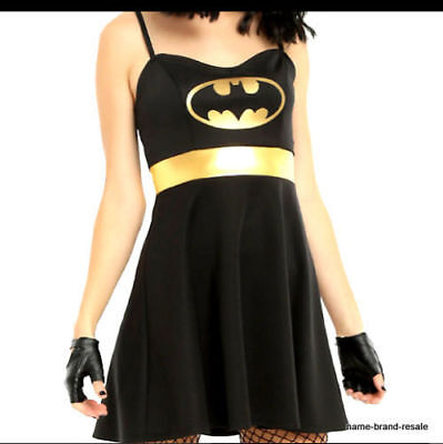 NWT BATMAN Womens DRESS Cosplay Halloween COSTUME Black Gold Hot Topic, size S - Hot Topic Costumes