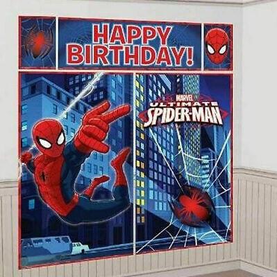 Happy Birthday Spiderman (SPIDERMAN Marvel superhero Scene Setter HAPPY BIRTHDAY party backdrop Spider)