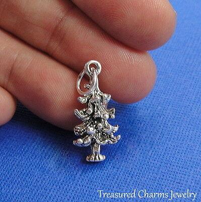 .925 Sterling Silver PINE TREE CHARM Christmas Holiday Tree PENDANT