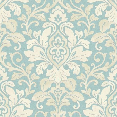 blue damask wallpaper ebay