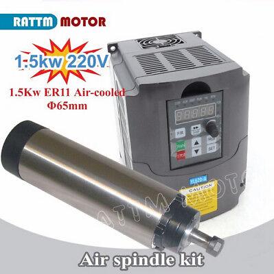 1.5kw 220v Er11 Air Cooled Spindle Motor 1.5kw Inverter Vfd Drive For Cnc Router