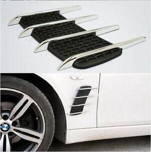 Auto Hoods Door Side Vent Simulation Intake Grille Chrome Decorative Stickers Ebay