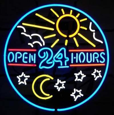 "New Open 24 Hours Star Moon Sun Shop Bar Beer Neon Sign 24""x20"""