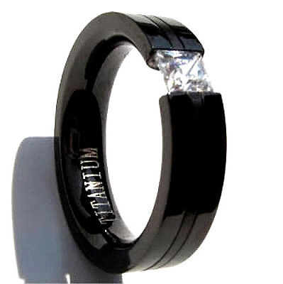 Black Plated Titanium TENSION RING, 4mm Square Cubic Zirconia - Select Sizes Black Titanium Tension Rings