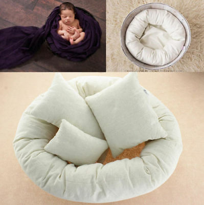 Newborn Baby Child Photography 4Pcs Filled Pillow Basket Donut Posing Photo Prop
