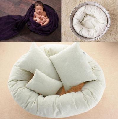 Newborn Baby Photography 4Pcs Filled Pillow Basket Wheat Donut Posing Photo Prop