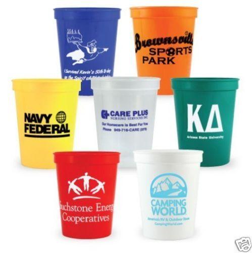 250 Custom Printed Plastic Stadium Cups