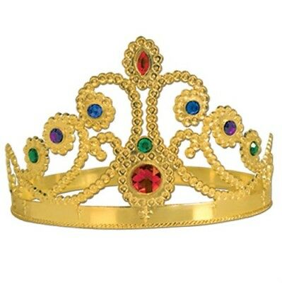 Plastic Gold Jeweled Queens Tiara Dress Up Princess Party Favor Medieval Decor