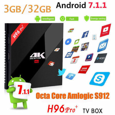 3GB/32G H96 Pro+ Android 7.1 TV BOX Amlogic S912 Octa Core 4K KODI 17, i8 2017