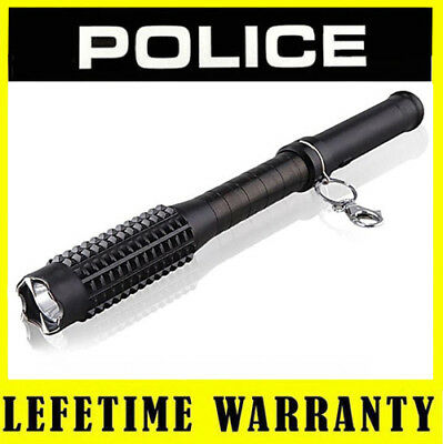 POLICE Stun Gun Metal 1118 65 BV Heavy Duty Rechargeable With LED Flashlight