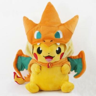 9'' Pikachu With Charizard Y Hat Pokemon Plush Doll Soft Stuffed Animal Toy US