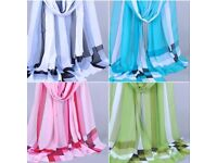 SALE Wholesale/Joblot x9 Checkered Chiffon Scarf Lightweight *MANY COLOURS*