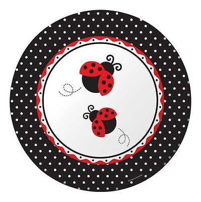 12 LADYBUG LARGE DINNER PLATES BIRTHDAY also available BALLOONS, NAPKINS, CUPS