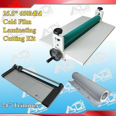 25.5 Cold Laminator 24in Rotary Paper Cutter Trimmer Rolls Laminating Film